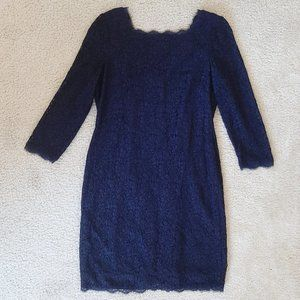 Adrianna Papell Navy Lace Cocktail Dress - Sz 14